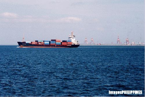 """Cargo Ship leaving Manila"", 
