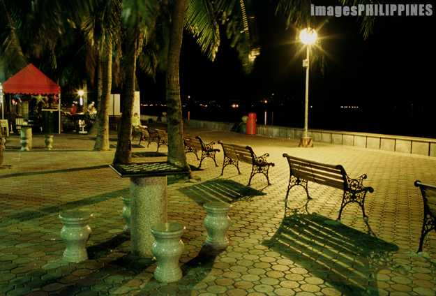 """Park Benches at Night""