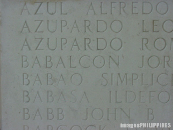 """Names of the Deceased - Manila American Cemetery 