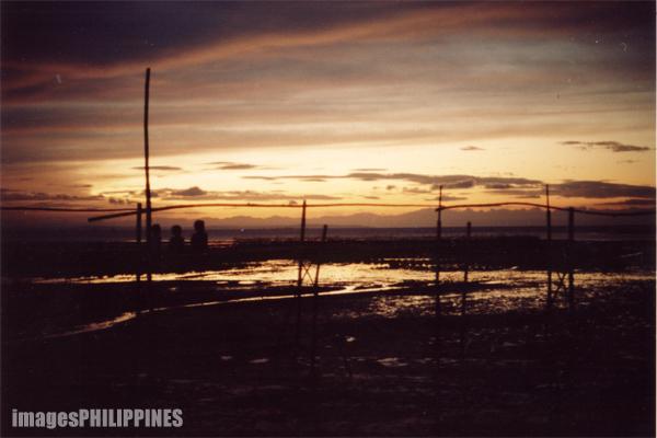 """""""Bamboo Bridge Sunset with Children"""",  Place Taken: Bacolod take on  Date Taken: 2001"""