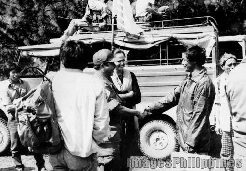 """Maj. Densen & Fr. Balweg in Mt. Data Peace Talks"",  take on  Date Taken: 1987"
