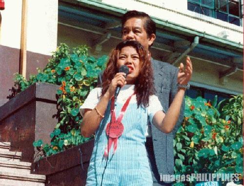 """""""Sarah Jane Salazar Speaking on HIV-AIDS"""" ,  Place Taken: Baguio City take on  Date Taken: 1997"""