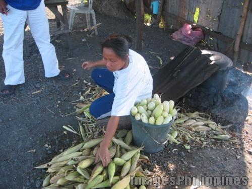 Cook & fresh corn vendor,  Place Taken: Nueva Ecija take on  Date Taken: 2005
