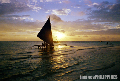 """Lone Sail Boat at Sundown"", 